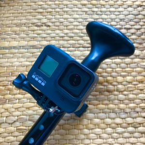 Handle bar attachment for the GoPro Hero 8 can be converted for use on SUP paddle