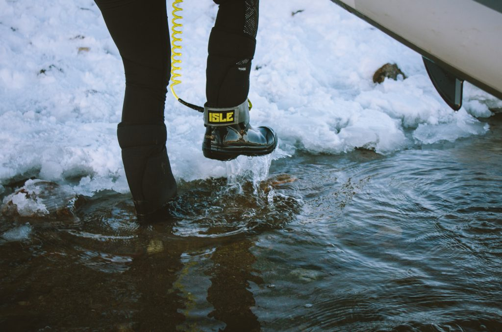 Cold wet feet while winter paddling