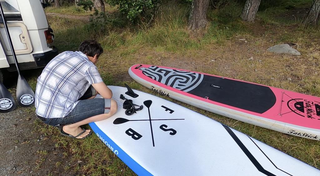 Inflating Paddleboard at Loch Morlich