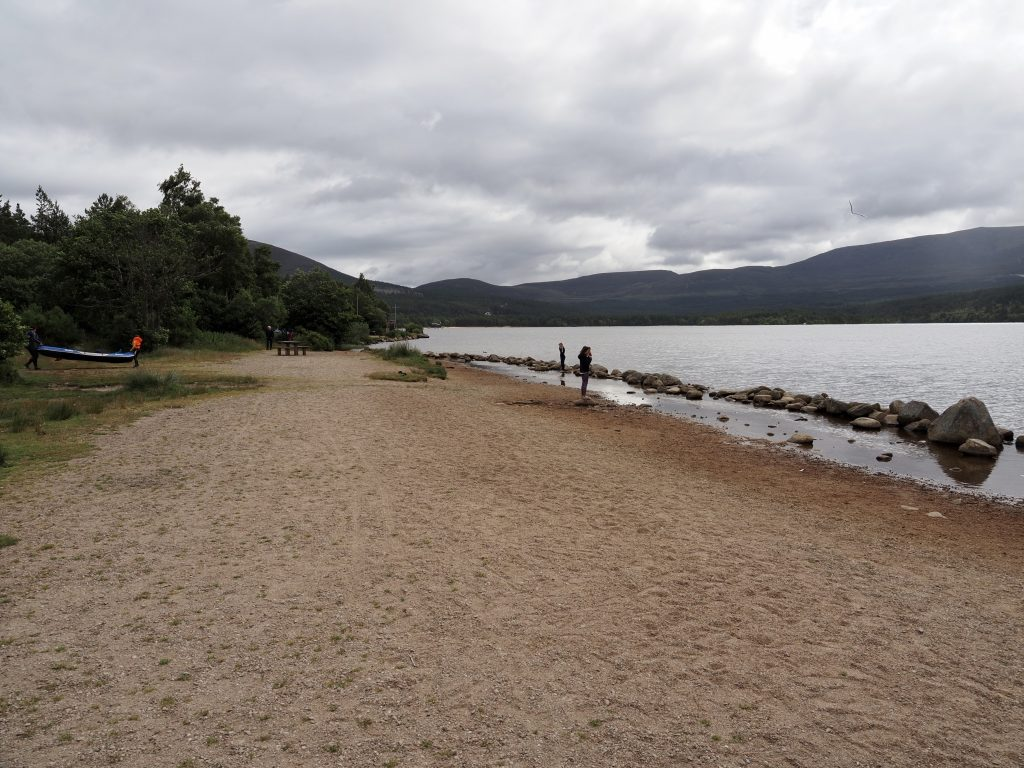 Paddling entry to Loch Morlich by sandy beach