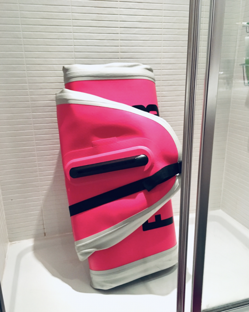 Keep the Inflatable Stand Up Paddleboard rolled up to wash down using a shower