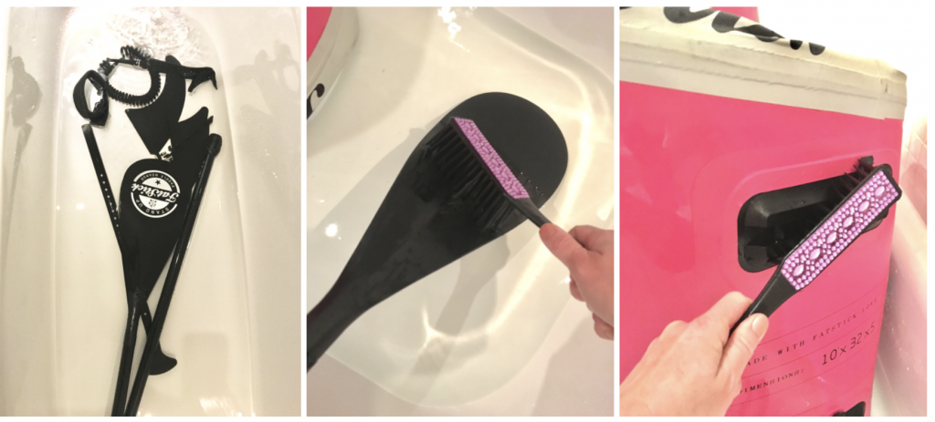 Using a hand brush a bath is a great place to rinse fins paddle and leg ropes as well as your stand up paddleboard