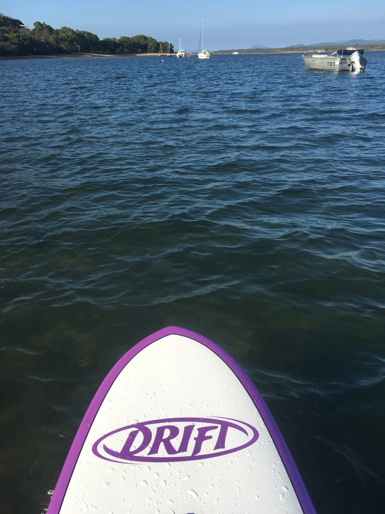 Stand Up Paddleboarding amongst the boats at the Town of 1770