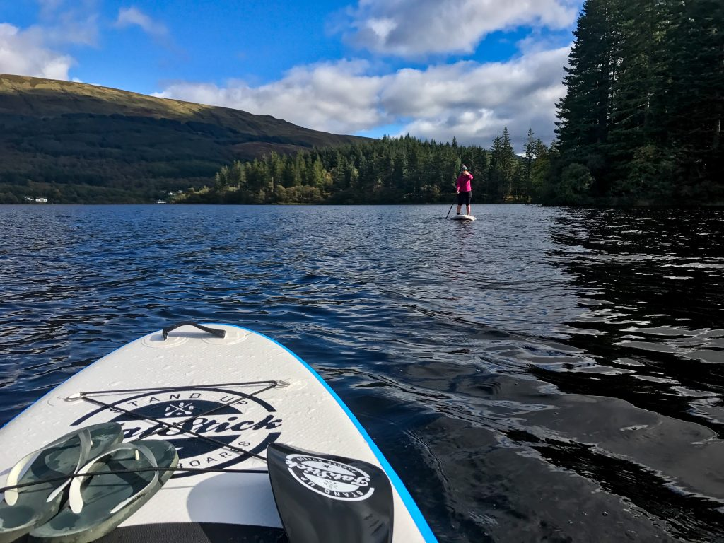 Exploring the shores of Loch Ard by Stand Up Paddleboard