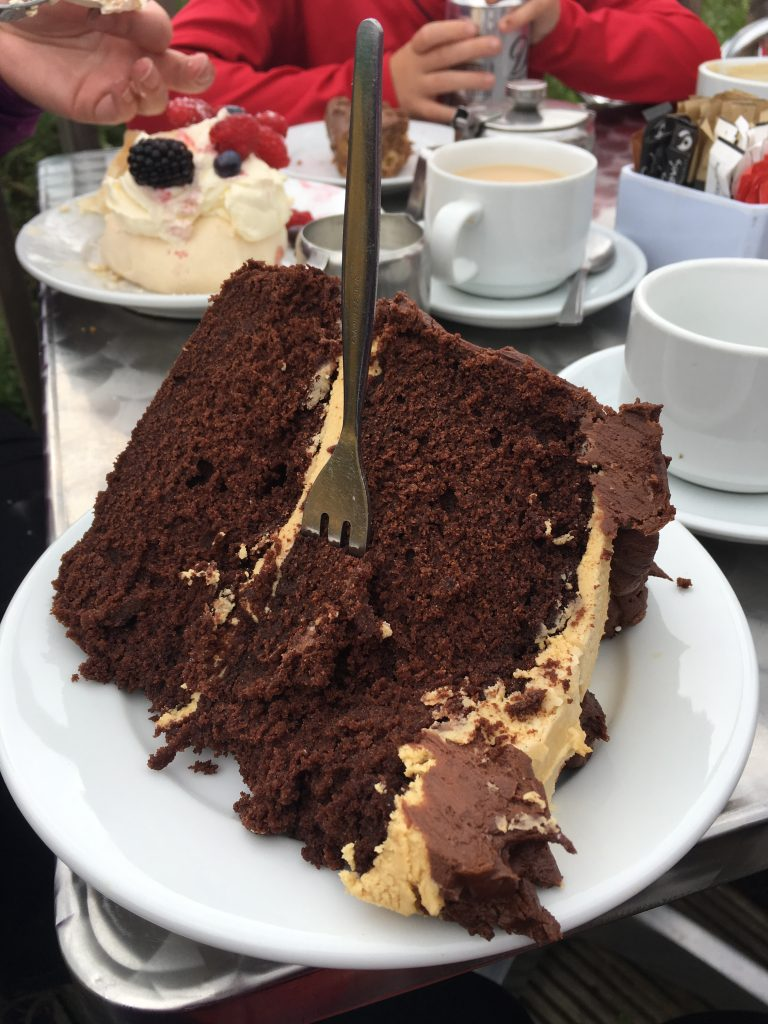 A stop at the Wee Blether Tea Room for a HUGE piece of cake after a Stand Up Paddleboarding session is a must