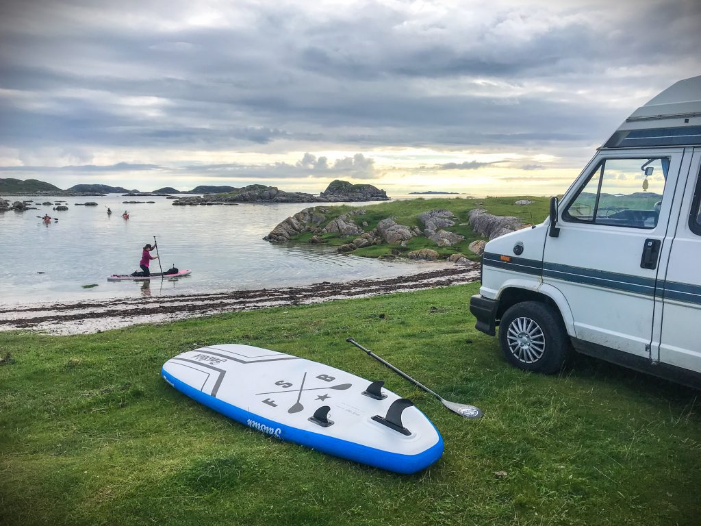 Camper and Stand Up Paddleboarding
