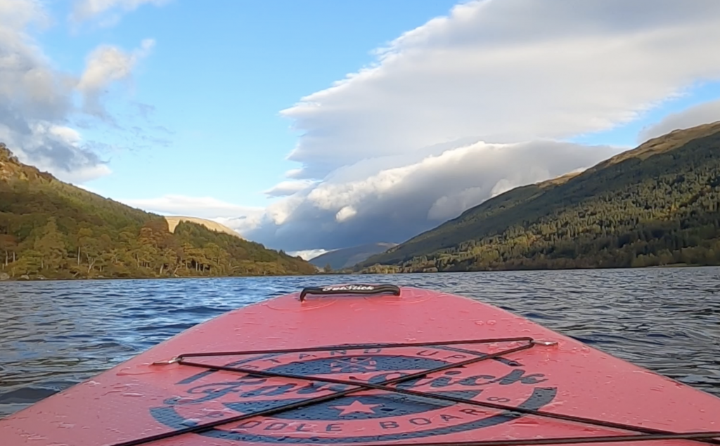 View down Loch Voil from on paddleboard