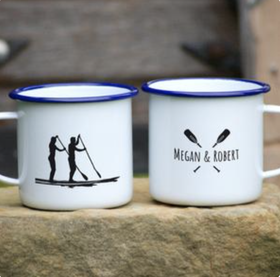 Gift Idea Tin mug with Stand Up Paddleboarders and names