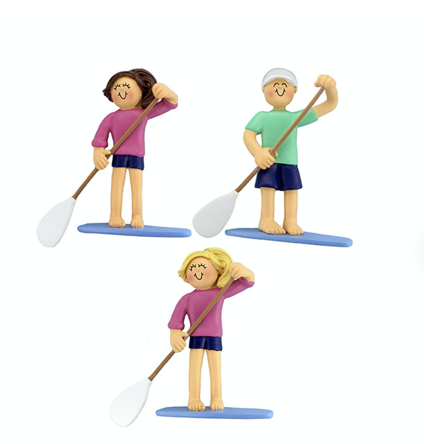 Gift Idea paddle boarder figurines/ tree decoration