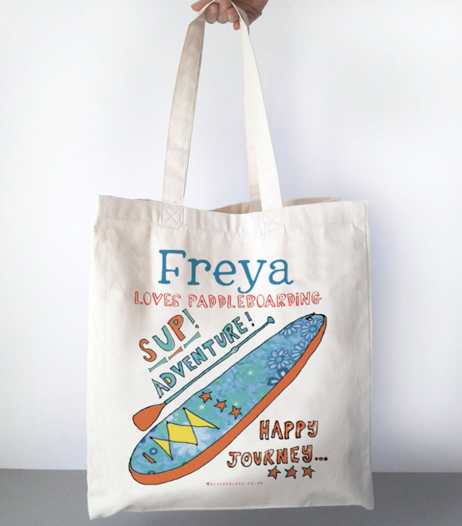 gift idea paddle boarder tote bag