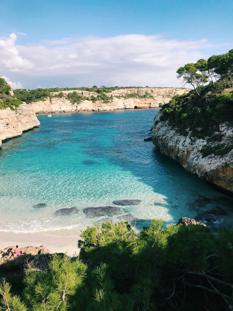 Majorca beach -  a cove with crystal clear water, sandy beach and fringed with pine groves