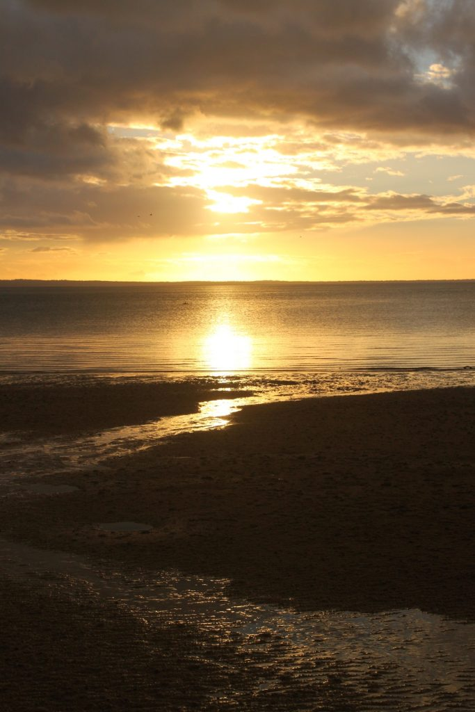 Sunset off the western shore of Fraser Island