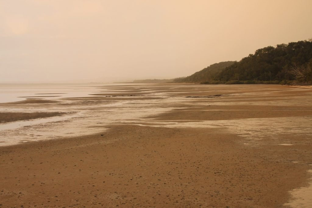 Looking north along the shore of Fraser Islands West coast at sunset