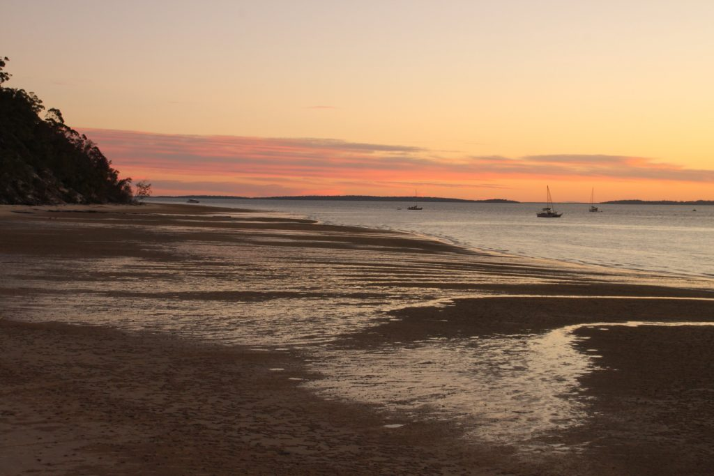 Looking south along the shore of Fraser Islands West coast at sunset