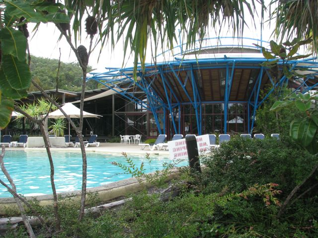Kingfisher Bay on Fraser Island overlooking the pool and gardens