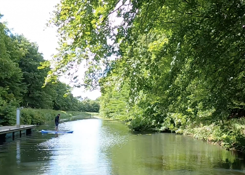 Stand Up Paddleboarder on canal surrounded by trees