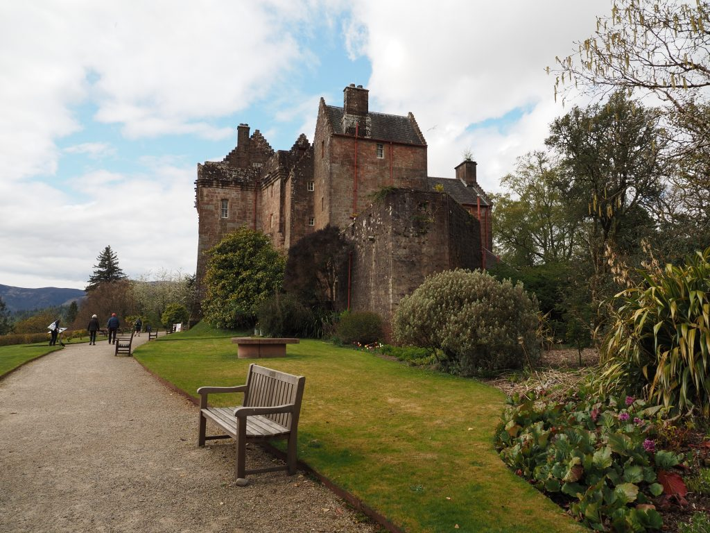 Isle of Arran Brodick Castle with garden and bench in foreground
