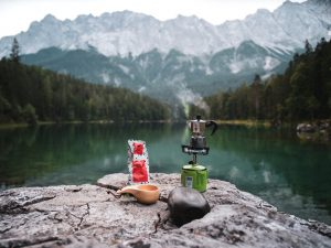 Coffee on the go by a lake