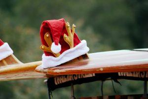 Santa hat and surfboard