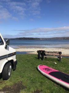 stand up paddleboard van talmine bay rabbit islands north coast 500